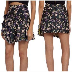 Missguided Jacquard Floral Frayed Edge Miniskirt